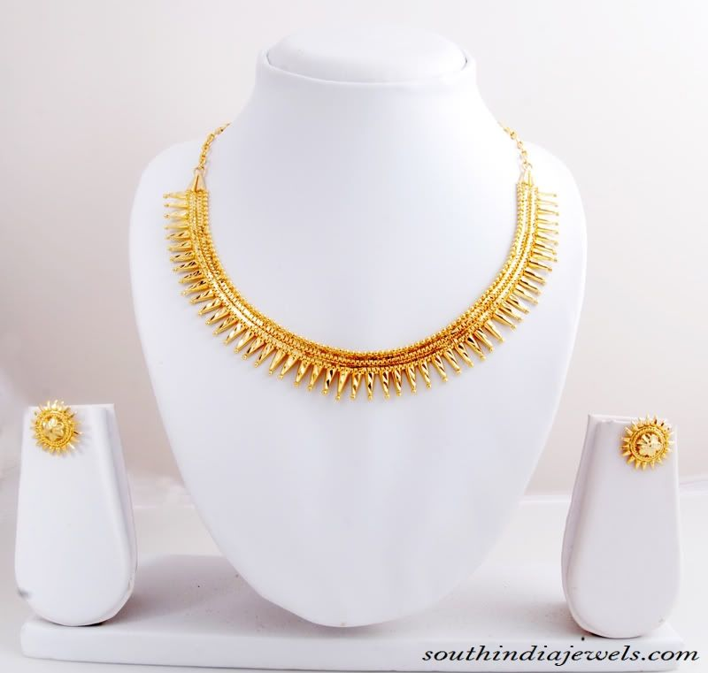 Traditional spike gold necklace set with earrings | Gold necklaces ...