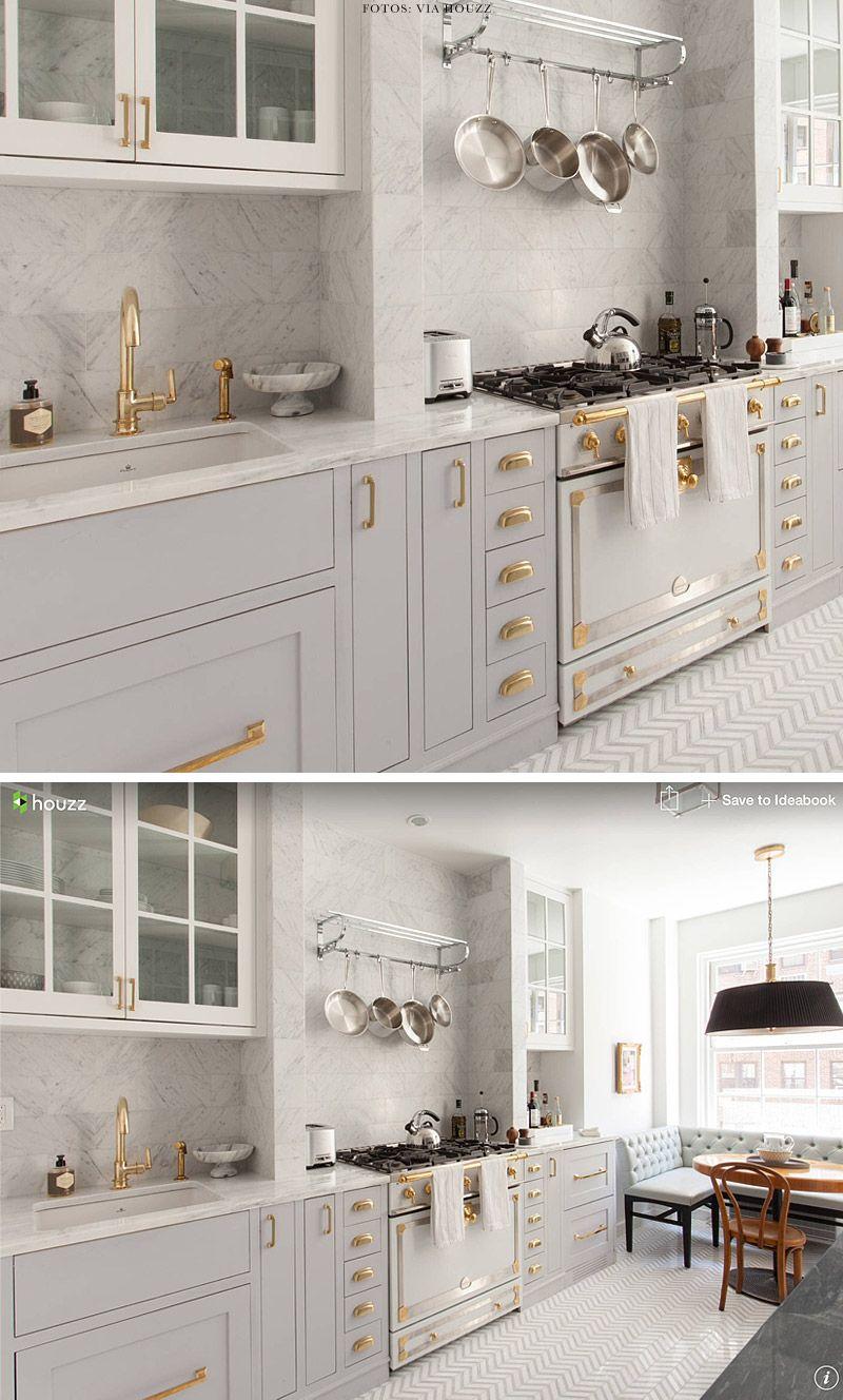 Décor do dia: cozinha em cinza claro e dourado