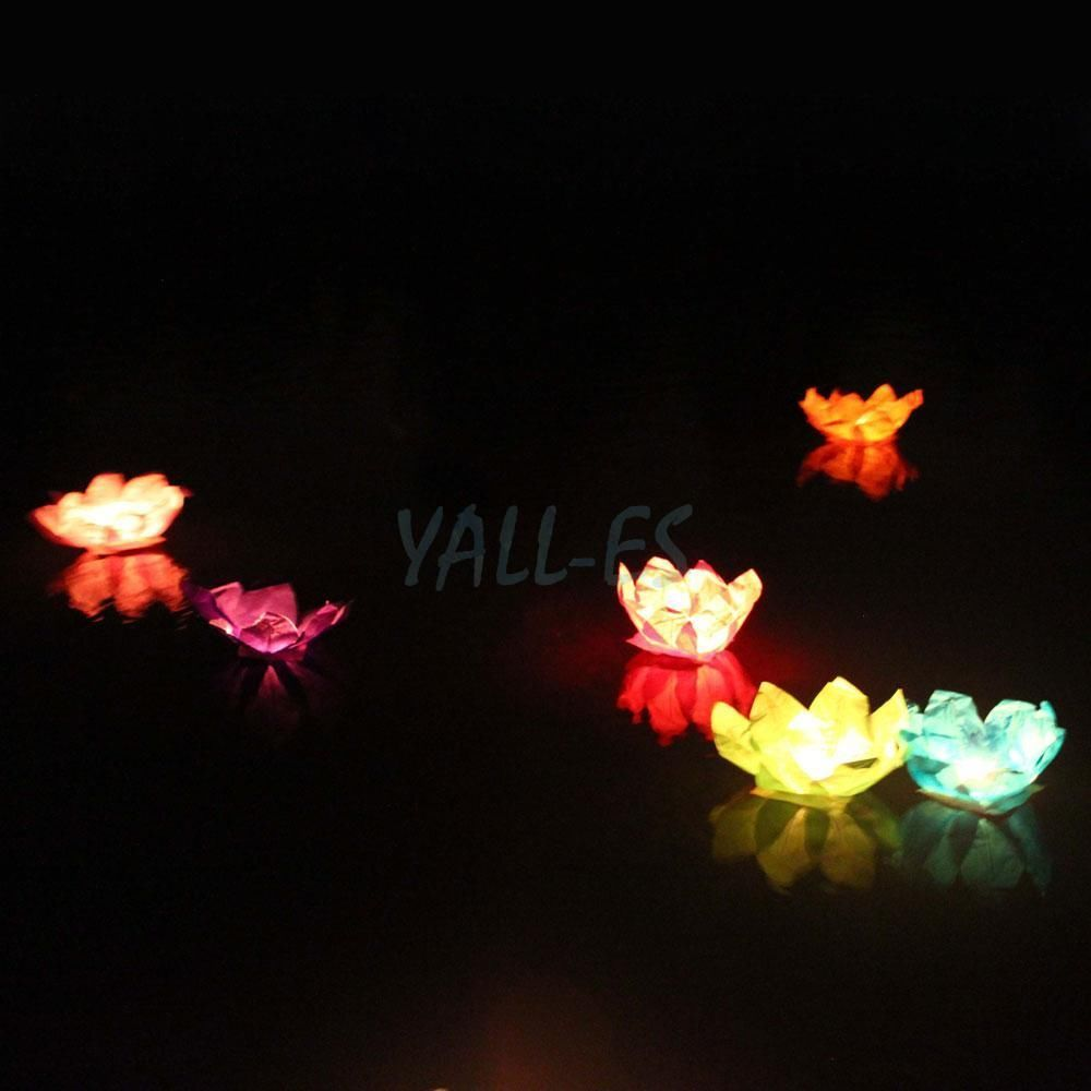 5x Paper Lotus Flower Chinese Floating Light Candle Lantern For
