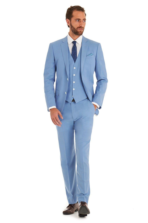 Cheap-Tuxedo-Three-Pieces-Jacket-Pants-Vest-Light-Blue-Tuxedos-M ...