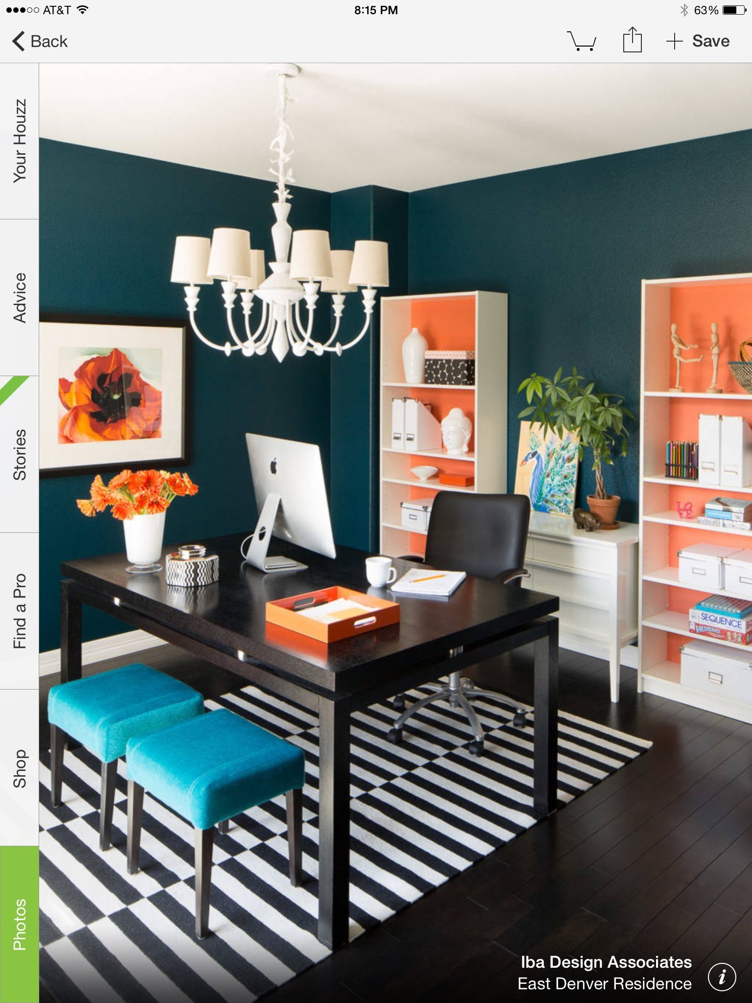 Colors For Office Space. Use Of Orange Color Back Bookshelves East Denver  Residence   Transitional