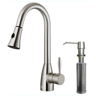 Contemporary VIGO Stainless-Steel Pull-Out Spray Kitchen Faucet with Soap Dispenser $192
