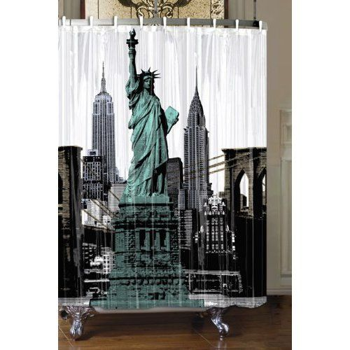Black And White Shower Curtains New York City And Statue Of