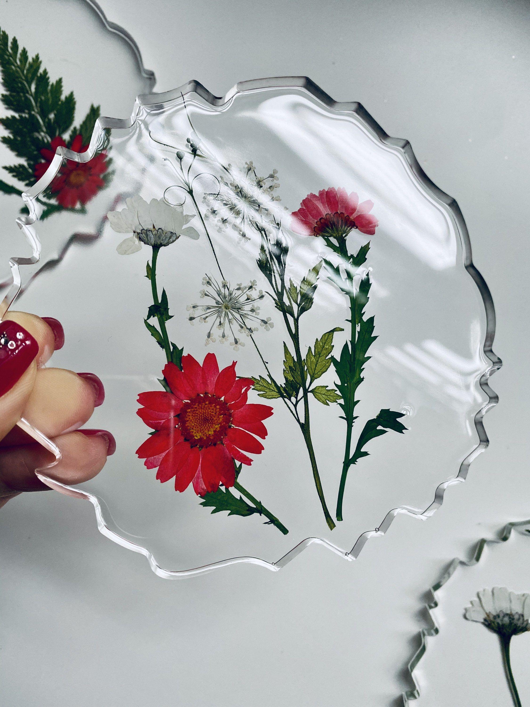 Resin Coasters Coasters With Flowershandmade Clear Etsy In 2020 Diy Resin Crafts Resin Crafts Resin Design