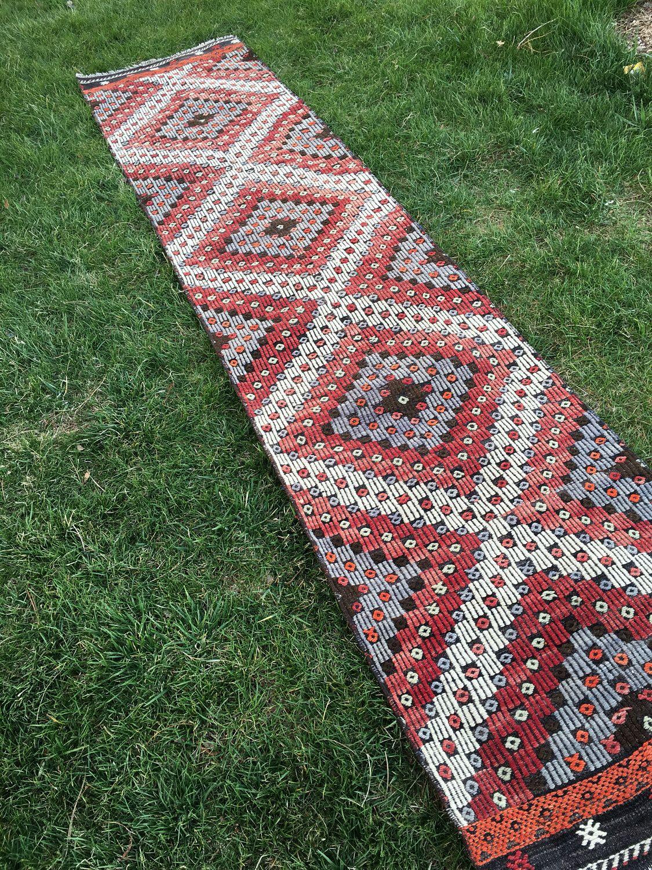 rustic decor vintage embroidery turkish kilim runner rug