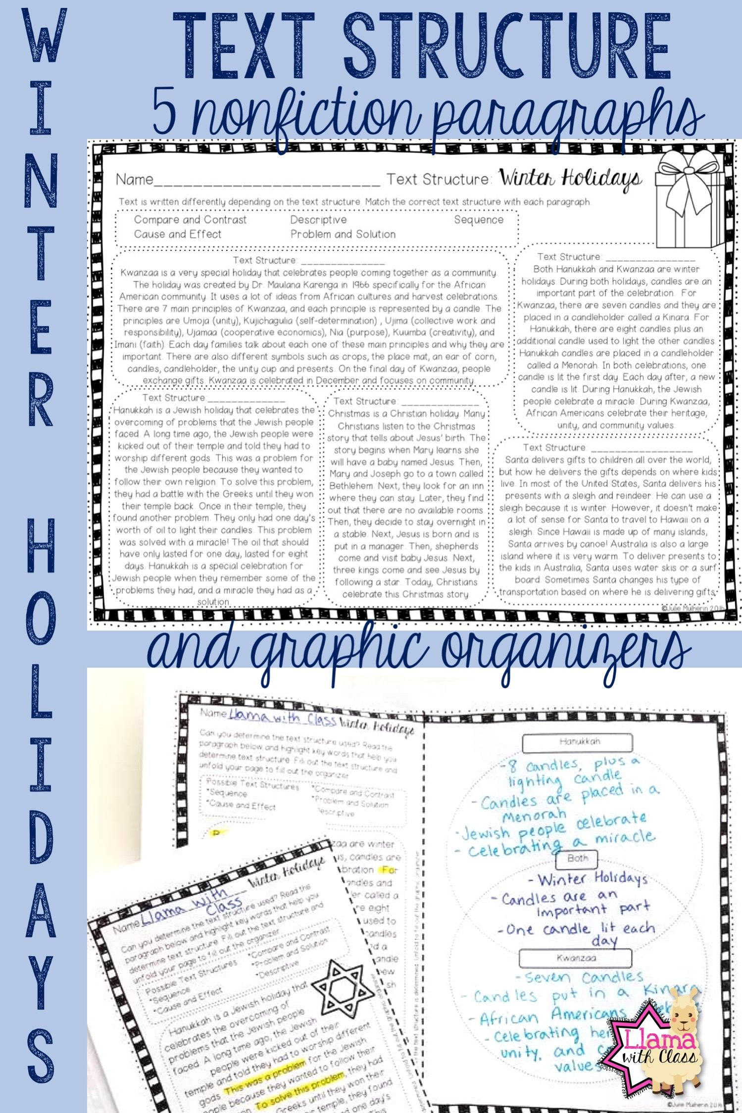 Winter Holidays Text Structure Worksheets