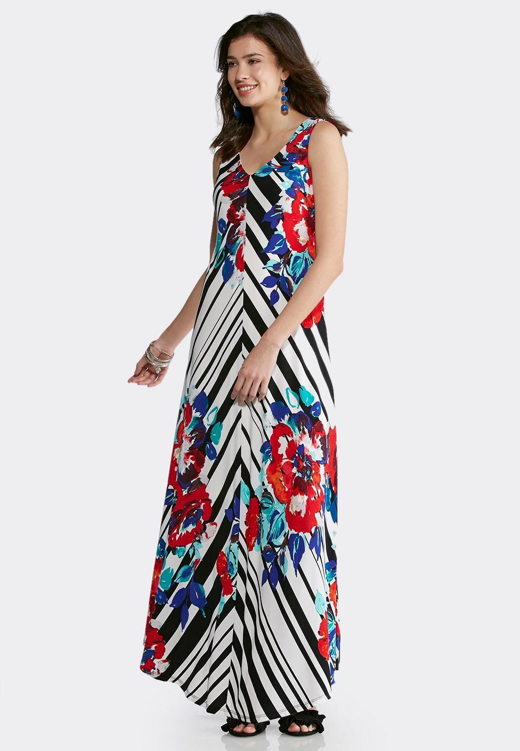 608cbf7ee46 Plus Size Striped Floral Maxi Dress Dresses Cato Fashions