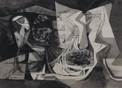 Roberto Burle Marx, Composição de nanquim e aguada s/ papel (sem nome), 1975