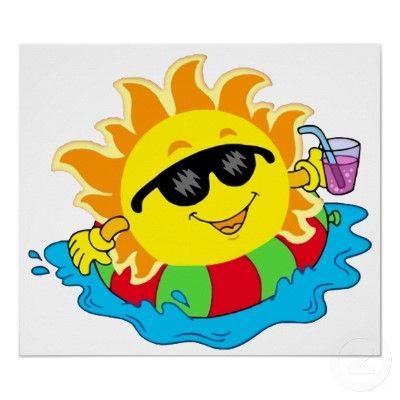 Happy Sun in the Pool Poster | Zazzle.com | Happy sun, Sun ...