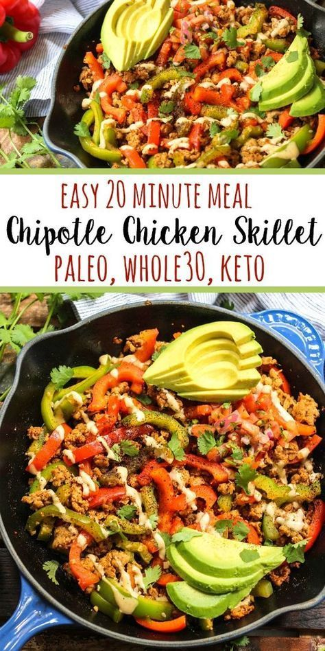 Photo of This Whole30 chipotle chicken skillet checks all of my boxes. Paleo, low carb, g…
