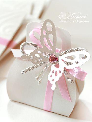 Romantic Butterfly Bomboniere - pink | Paper crafts | Pinterest ...