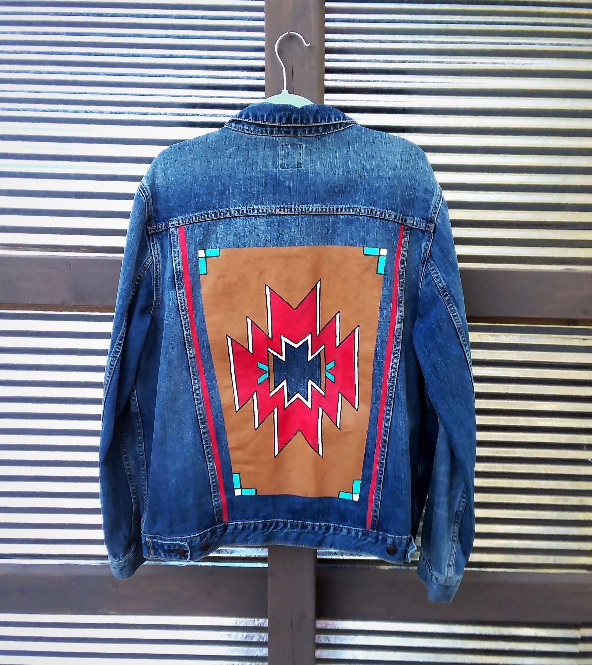 Hand Painted Southwest Blanket On Denim Jean Jacket By Bleudoor On Instagram Denim Country Hand Painted Denim Jacket Jackets [ 2168 x 1932 Pixel ]