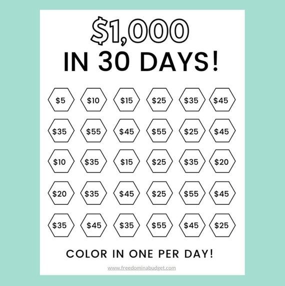 Money Saving Challenge Printable | Save 1000 in 30