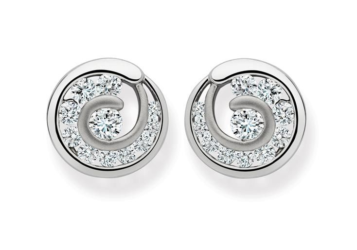 Platinum Circle Earrings Studded With Channel Set Diamonds