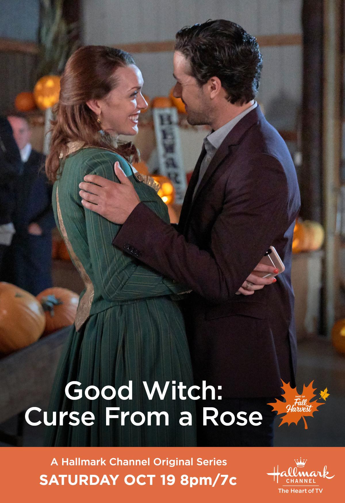 Good Witch Halloween 2020 Date Abigail (Sarah Power) and Donovan (Marc Bendavid) wager a fun bet