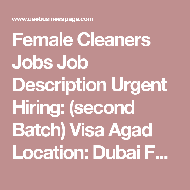 Female Cleaners Jobs Job Description Urgent Hiring Second Batch