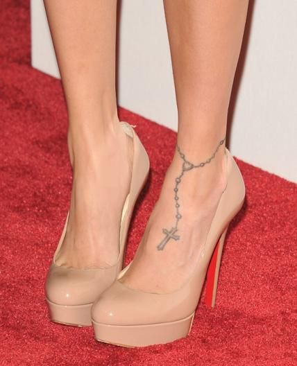Rosary beads tattoo around ankle celebrity