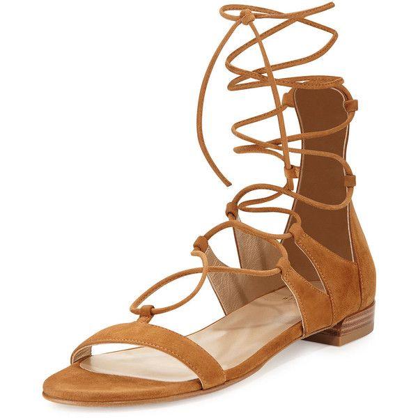 Stuart Weitzman Woman Roman Lace-up Suede Sandals Size 38 QPMIwGo