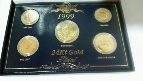 #coins 1999 US 24 KT GOLD PLATED 5-COINS SET DOLLAR QUARTER DIME NICKEL & 1999 us 24 kt gold plated 5-coins set dollar quarter dime nickel and ...