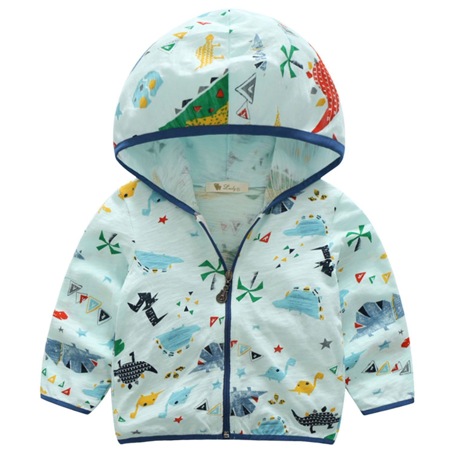 49e04d6d2 Summer Boys Long Sleeve Soft Cotton Dinosaur Printing Sun Protection Coat  Anti UV Zipper Shirt Windbreaker