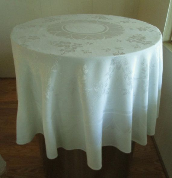 Vintage Damask Round Tablecloth With Minor Flaws Light Mint Green Color. Damask  Green Tablecloth, Round Light Mint Green Damask Tablecloth
