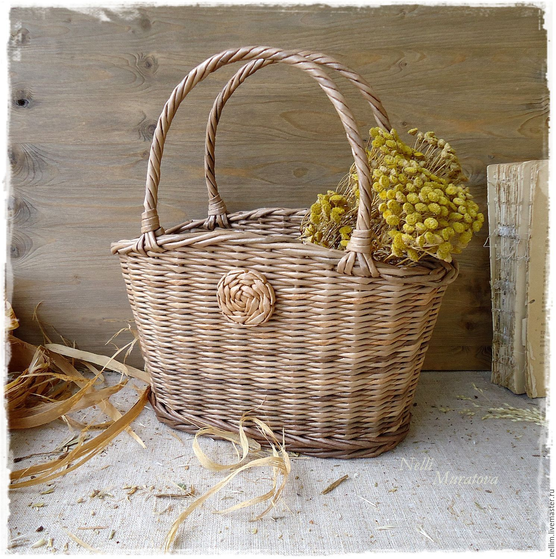 """Купить Корзинка-сумочка плетеная """"Осенний день"""" - коричневый, Плетеная корзинка, корзинка с ручками"""