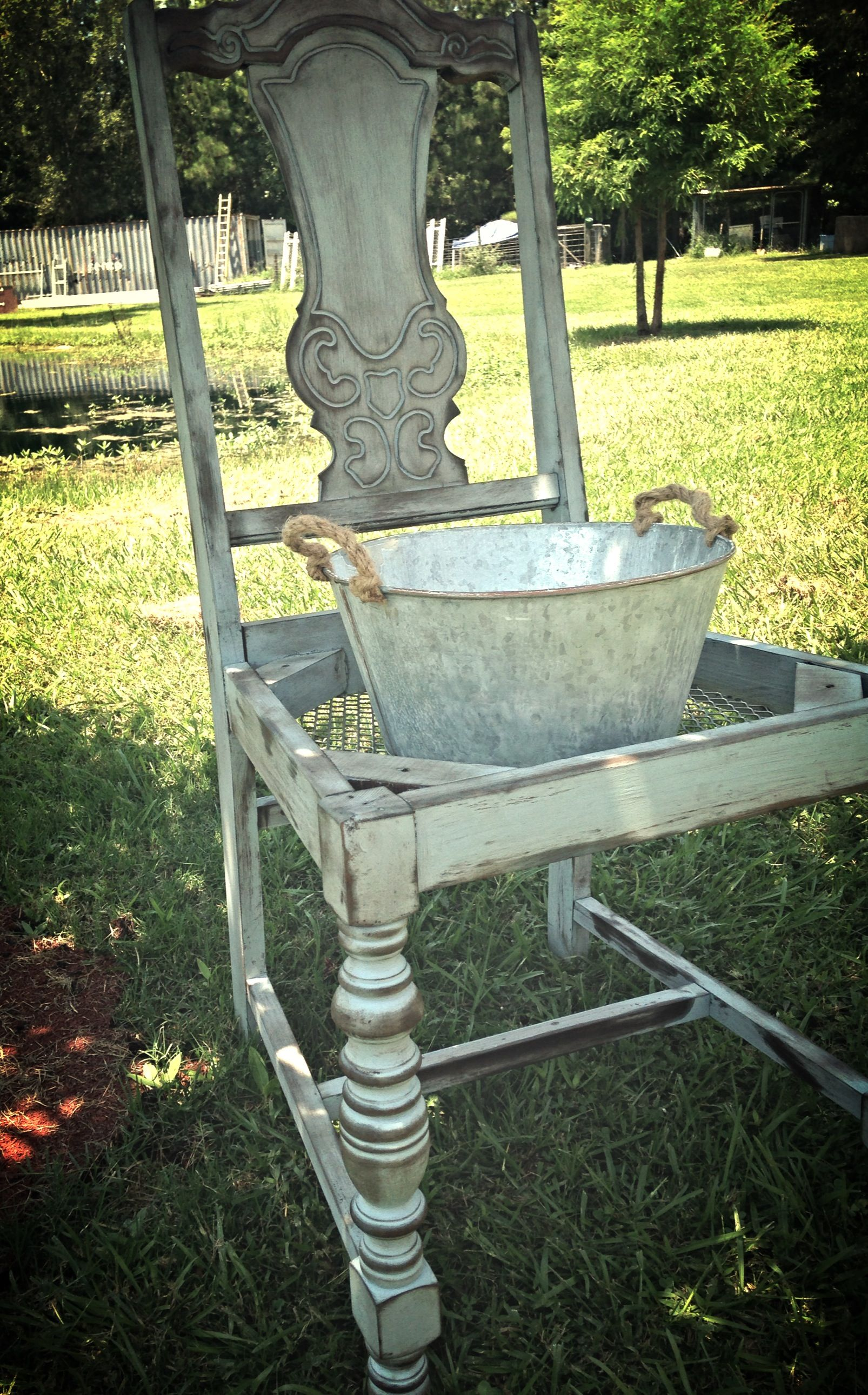 Rustic Blue Chair Planter For Sale By Charla Griffin
