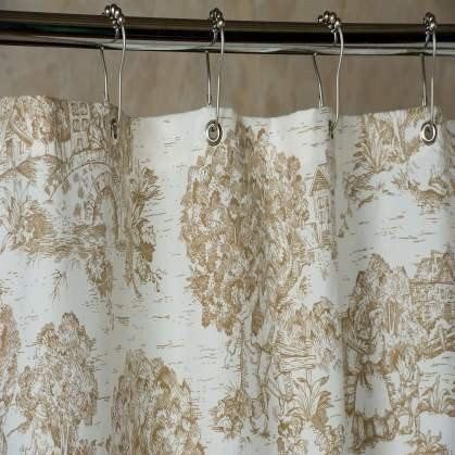 French Toile Shower Curtain Gray