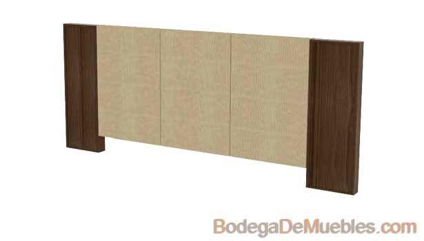 Cabecera para cama king size de madera de fresno y tela o for Cama king size de madera