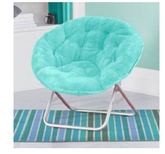Moon Chairs For Adults Teens Large Saucer Faux Fur Aqua