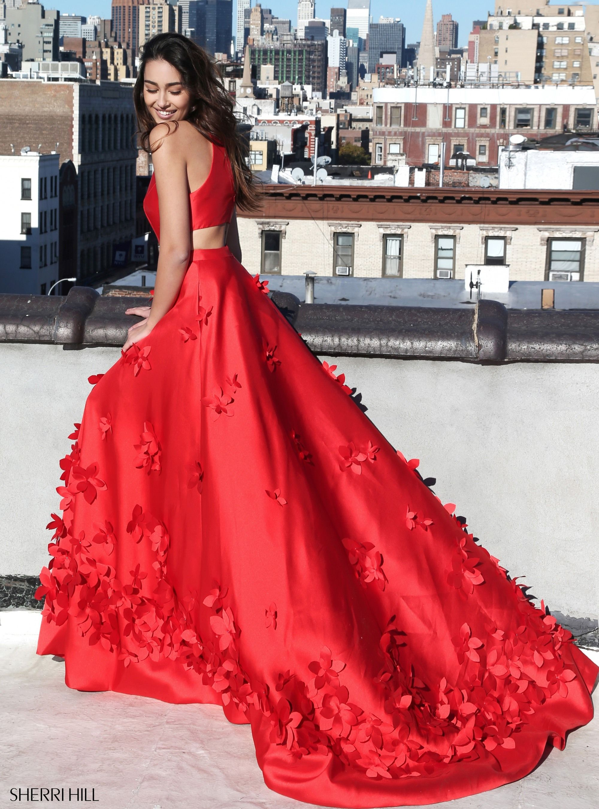 Sherri Hill 51116 Red Floral 3D Flower Appliques Ypsilon Dresses Prom  Pageant Homecoming Stand Out Dress