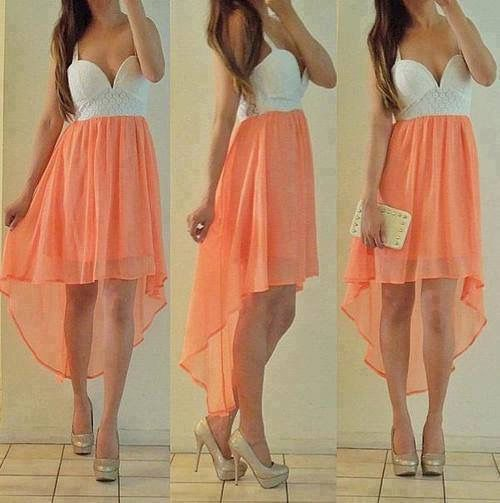 White and orange high low dress with gold heels | F a s h i o n ...