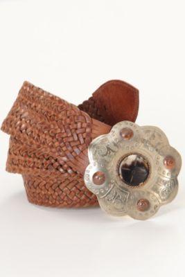 Toulouse Belt - Woven Belt, Silver Buckle, Copper Accents   Soft Surroundings