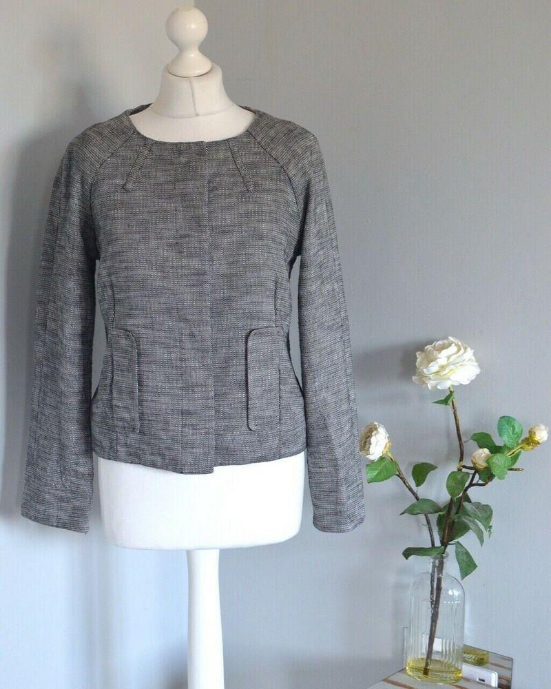 JAEGER Black tweed boucle effect cotton/linen smart jacket