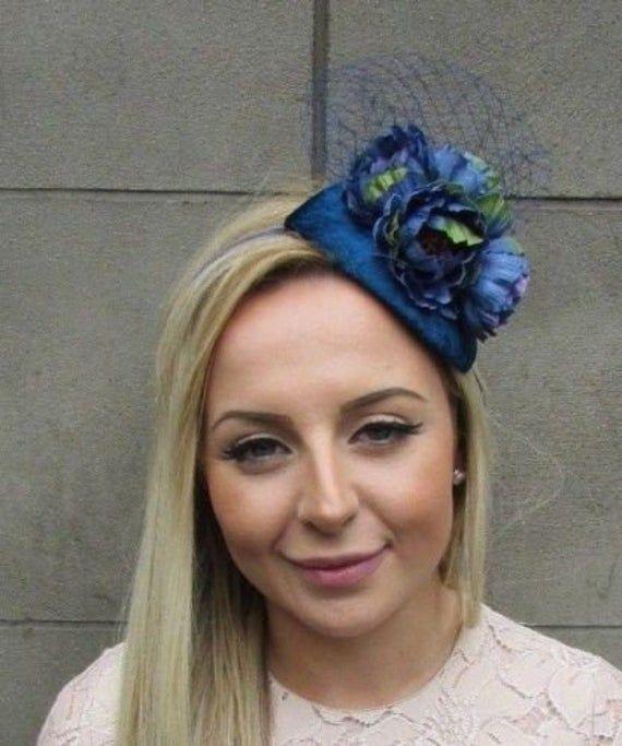Teal Navy Blue Peony Flower Net Fascinator Headband Races Teardrop Wedding 5307 #bluepeonies