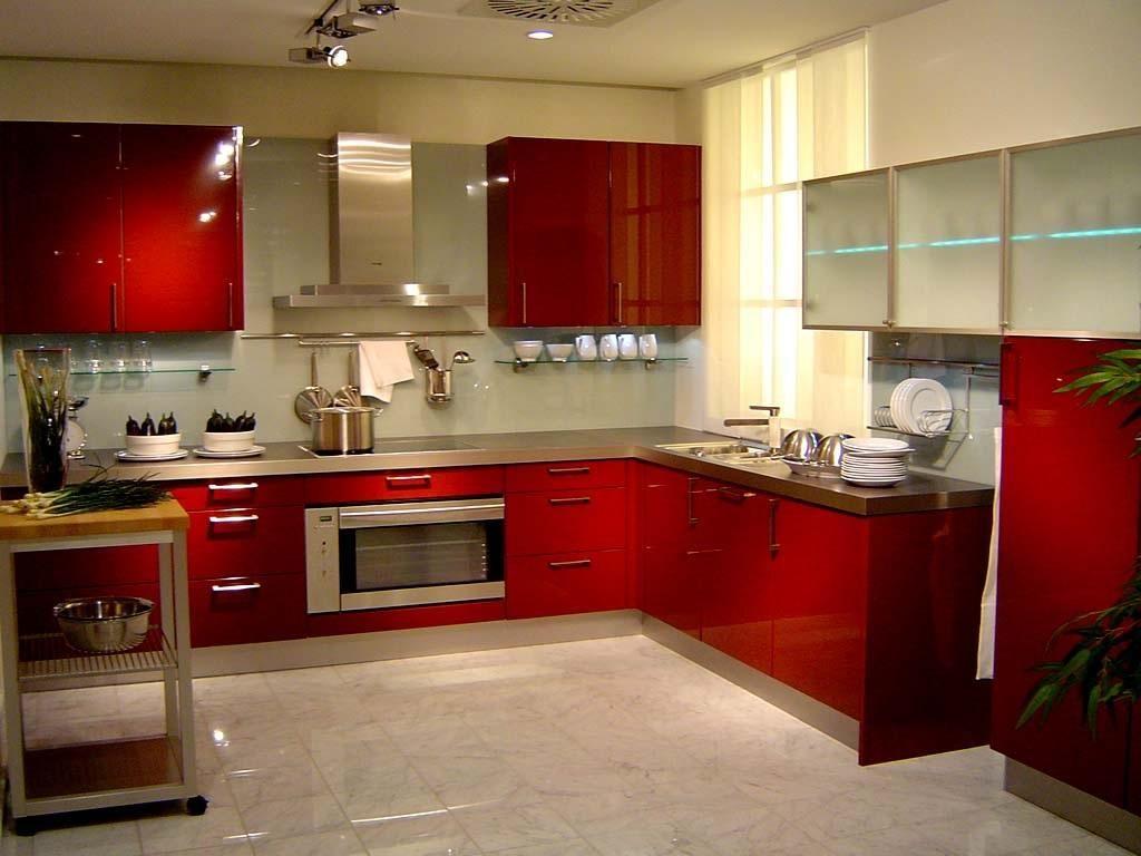 Kitchen, Interesting Red Modern Kitchen Cabinet Design Idea With ...