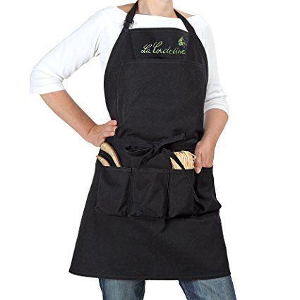 La Cordeline CJN45NO Gardening Apron In Black Cotton 85 X 03 X 75cm.  Gardening. Gardening Apron. Gardening Aprons. Gardening Women Apron.