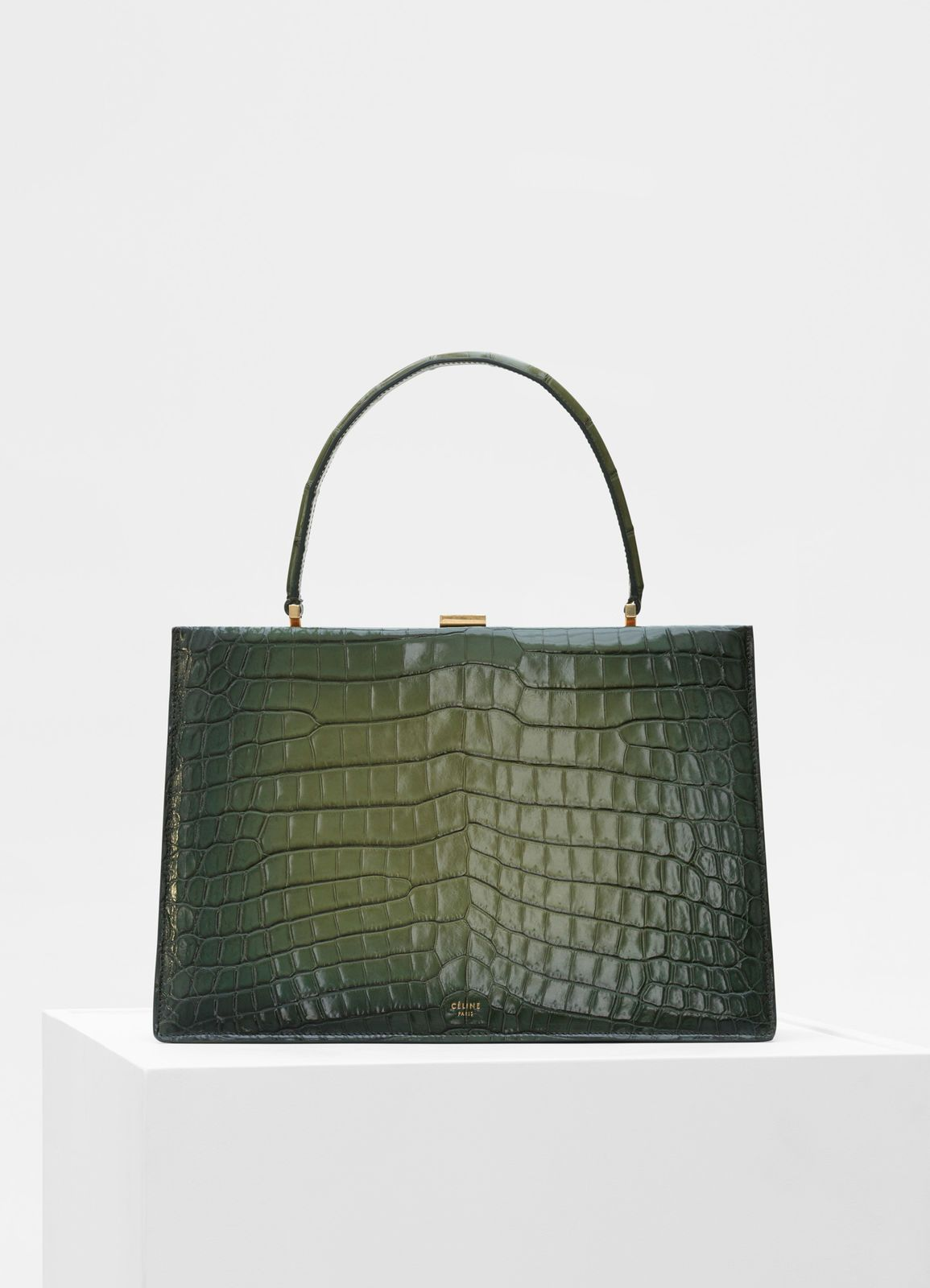 7aa4a8f3286f Céline - Medium Clasp bag in olive crocodile with patina