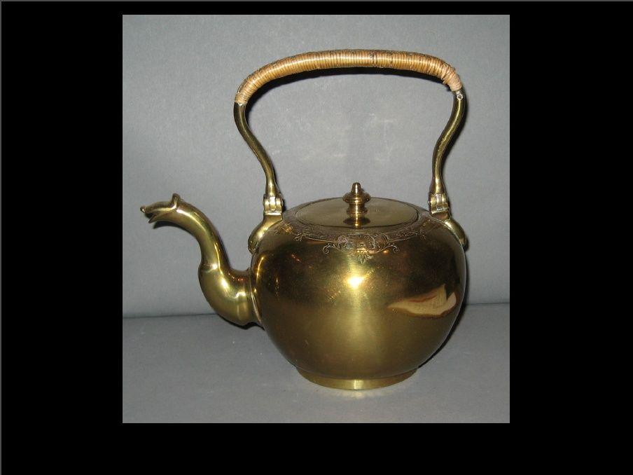 English brass tea kettle c1730-1750, Winterthur