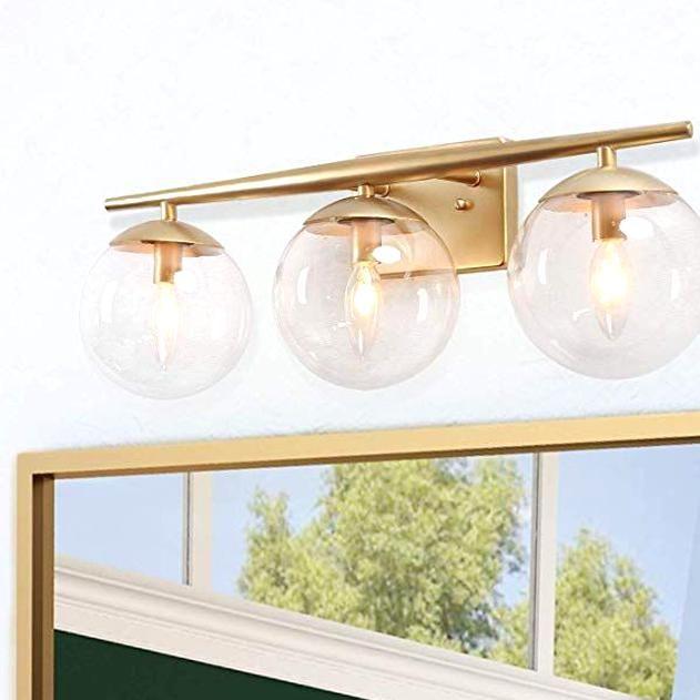 Ksana Gold Bathroom Light Fixtures Modern Bathroom Lights Over Mirror 3 Light Bathr In 2020 Bathroom Lights Over Mirror Modern Bathroom Lighting Gold Bathroom Fixtures