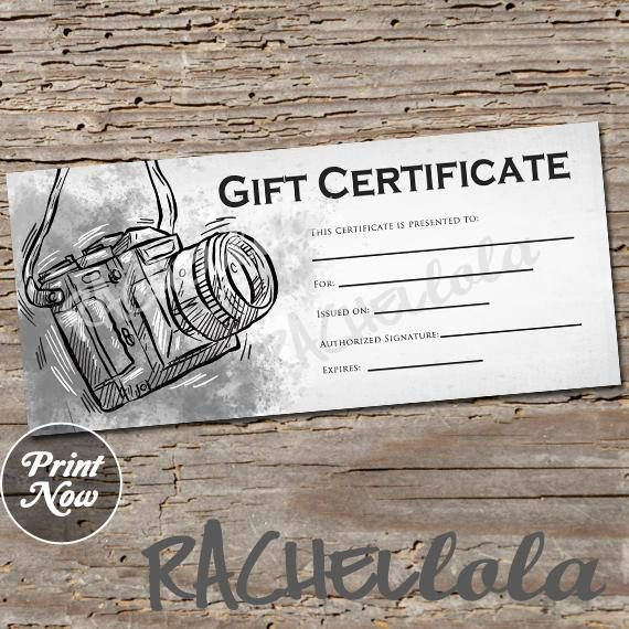 Black And White Camera Printable Gift Certificate Template Spring