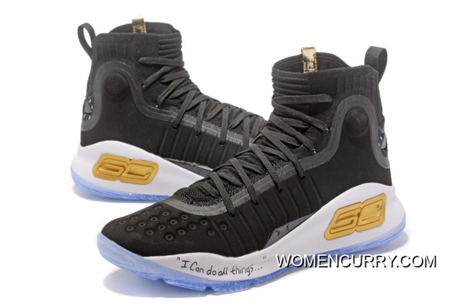 newest be1bf 18fff Under Armour Curry 4 Basketball Shoes Black White Authentic ...