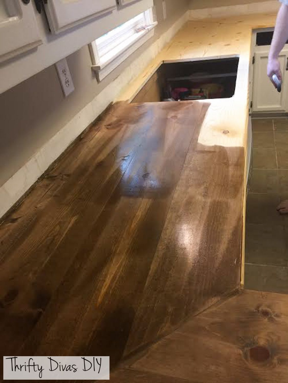 Waterproof Wood Countertop Thrifty Divas Diy Wide Plank Butcher Block Countertops
