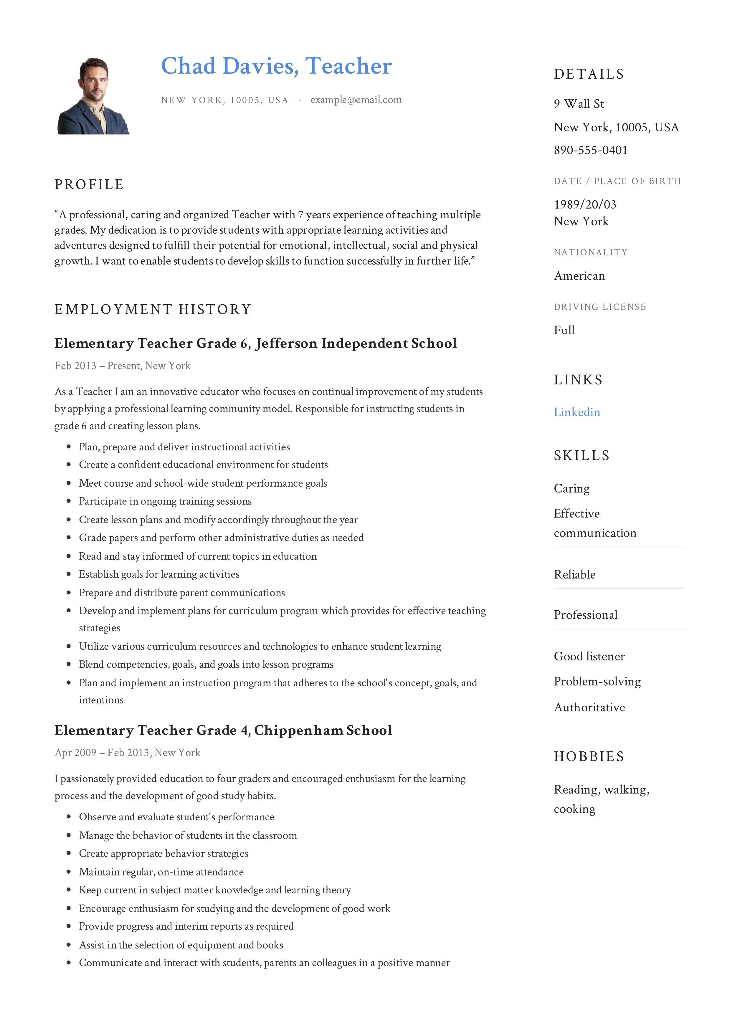 Teacher Resume & Writing Guide in 2020 Teacher resume