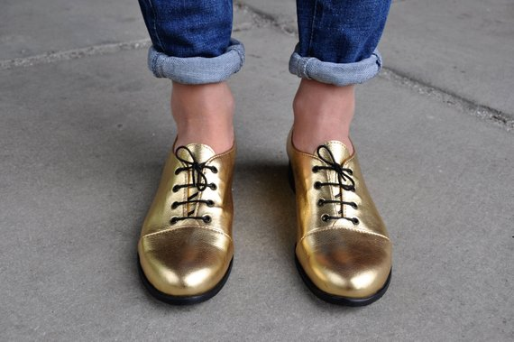 058976ac7aa98 Mariachi - Gold Oxfords, Leather Oxfords for Women, Handmade Shoes ...