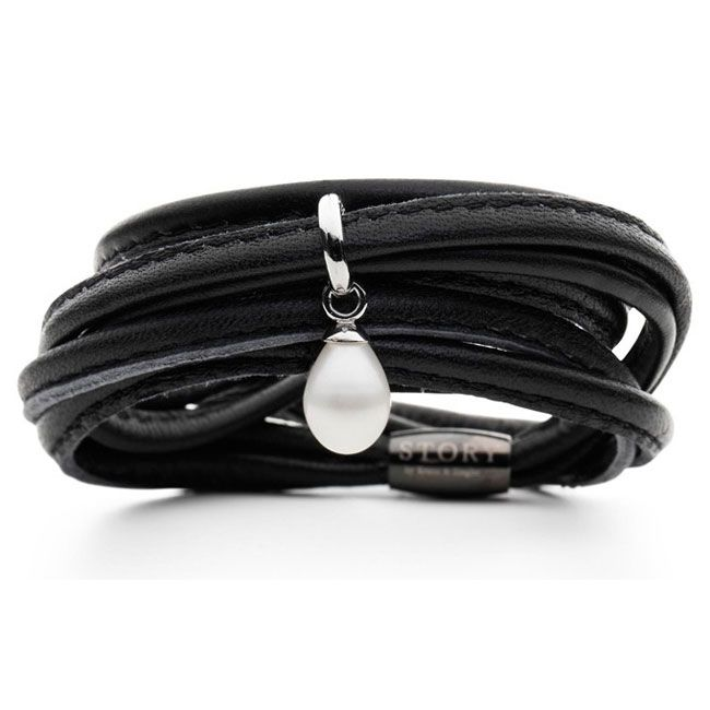 Story By Kranz Ziegler Triple Wrap Black Lambskin With Sterling Silver And Pearl Starter Bracelet