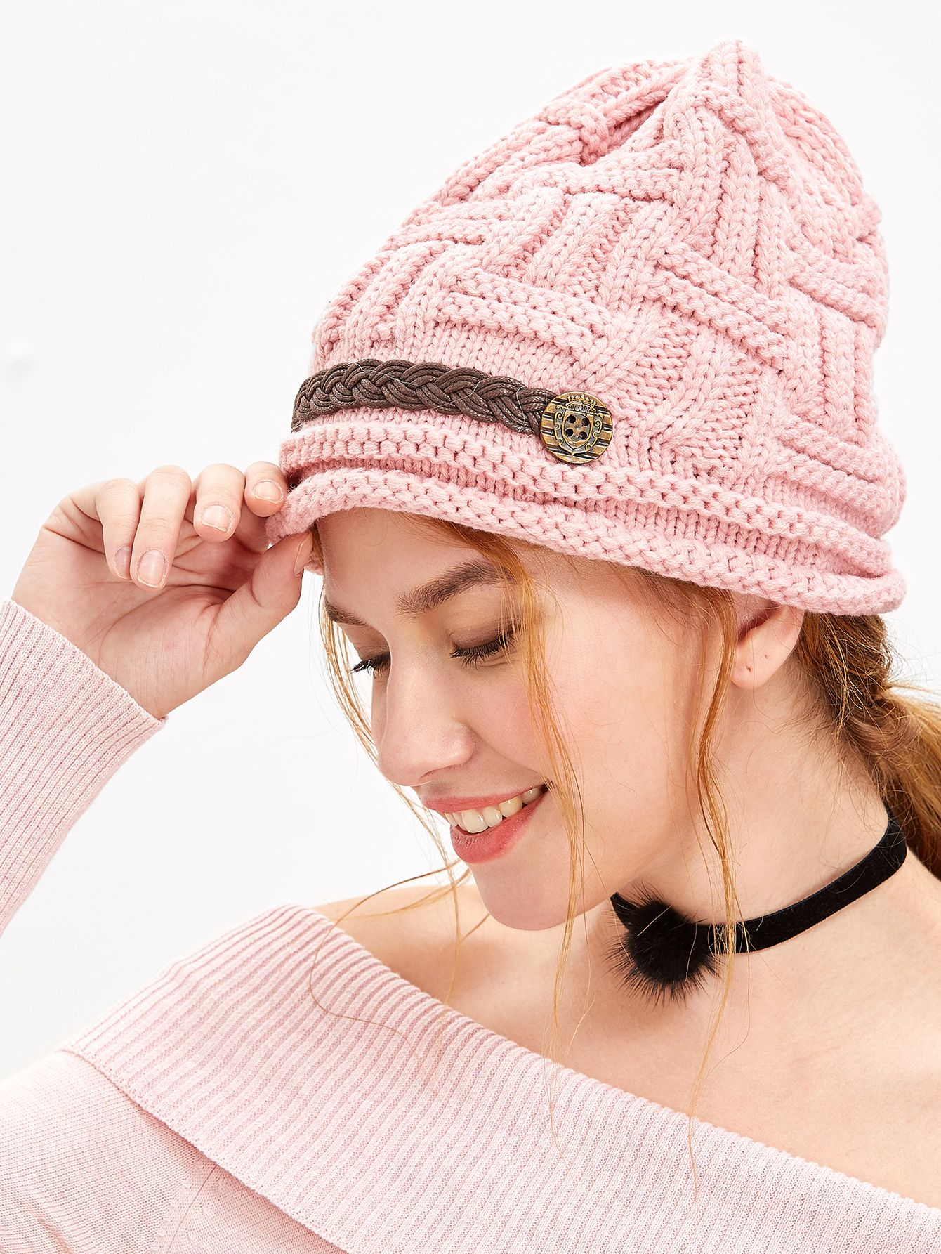 2544767f353 Pink Cable Knit Beanie Hat