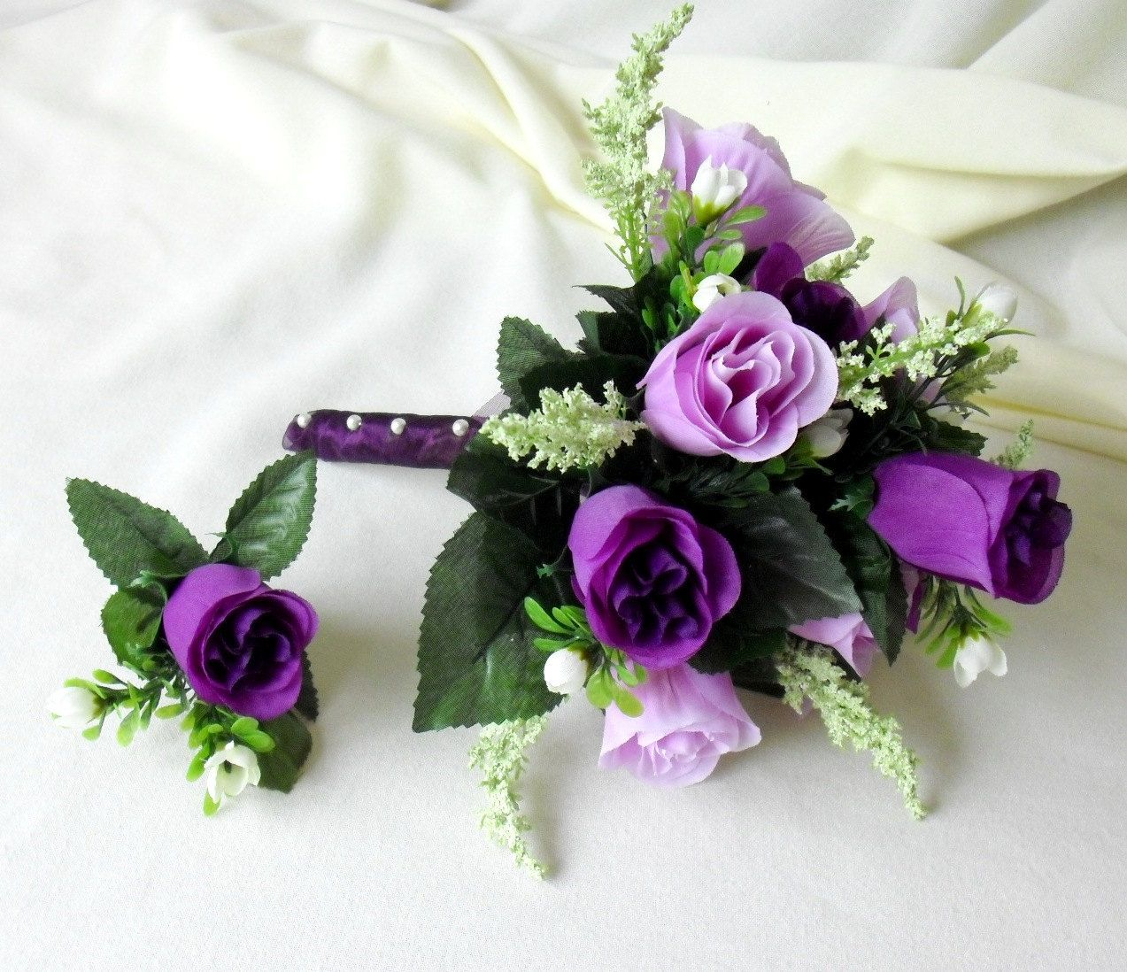 Lavender Rose Gypsophila Bridal Bouquet: Silk Bridal Bouquet Purple Lavender Roses Wedding Flowers