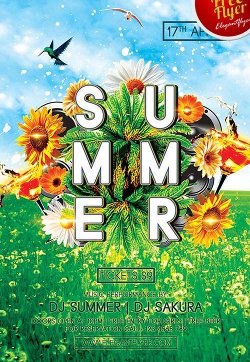 green summer party free psd flyer template http freepsdflyer com