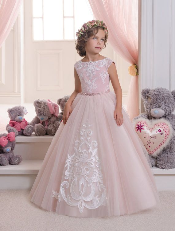 Blush Pink Lace Tulle Flower Girl Dress - Wedding party Holiday ...